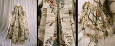 CREL RESTAURACION DE TEJIDOS  Dress (Robe à la française), 1740s Silk, linen, pigment This painted silk gown is The Costume Institute's earliest example of the eighteenth- century fashion for exoticism and chinoiserie. The gown's bold, somewhat fantastical floral pattern, with its use of dense areas of saturated color, is not, however, typical of the more commonly seen Chinese export silks, with their delicate and naturalistic designs. MET