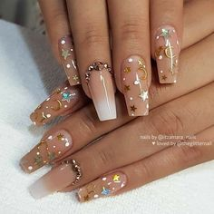 Nude and Ombre with Stars, Moons, Dots and Crystals on Coffi.- Nude and Ombre with Stars, Moons, Dots and Crystals on Coffin Nails Wedding Acrylic Nails, Summer Acrylic Nails, Best Acrylic Nails, Matte Nails, Wedding Nails, Summer Nails, Glitter Nails, Stylish Nails, Trendy Nails