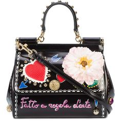 Dolce & Gabbana Sicily Love You shoulder bag (54.695 CZK) ❤ liked on Polyvore featuring bags, handbags, shoulder bags, black, studded purse, magnetic closure handbags, shoulder handbags, studded handbags and patent purse