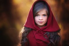 Little Red Riding Hood inspiration. Love the bright hazel eyes and long raven hair; she's perfect for A's character as a child. The close-up of this child's face is just absolutely beautiful too. Burgundy Flowers, Burgundy Color, Persnickety Clothing, Relaxation Gifts, Red Riding Hood, Little Red, Cute Kids, Color Splash, Fall Outfits