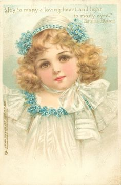 head & shoulder study of young girl in white, blue forget-me-not trim to dress & hat