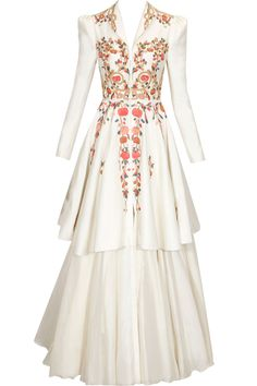 Ivory thread and zari embroidered peplum gown available only at Pernia's Pop Up Shop.#perniaspopupshop #shopnow #happyshopping #designer #newcollection #samantchauhan #clothing