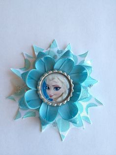 Frozen hair bow, Elsa hair bow, turquoise and silver hair bow, girls …