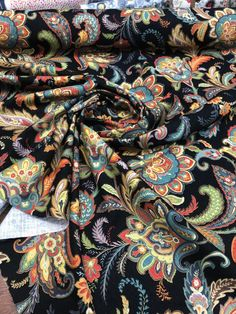(1) Maylie Blend Black Swavelle Mill Creek Duck Fiesta Paisley Upholstery – Affordable Home Fabrics