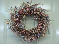 Pastel Spring EGG Mix Pip Berry Wreath  - Primitive Wreaths - Easter Home Decor.