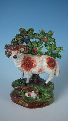 Staffordshire Pearlware ram bocage figure
