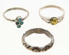 .925 Sterling Silver Lot of 3 Round Yellow Amber Inlay Rings Size 6-8 (7.3g)