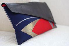 Asymmetric clutch bag - vintage Japanese kimono obi silk, blue, red, gold & silver butterflies