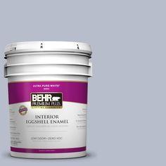 BEHR Premium Plus 5-gal. #610F-4 Silver Service Zero VOC Eggshell Enamel Interior Paint