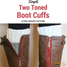 Simple Two Toned Boot Cuffs   AllFreeCrochet.com