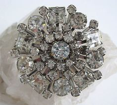 Vintage Crystal Rhinestone Pin Snowflake Star Burst Circle Brooch Prong Set | Jewelry & Watches, Vintage & Antique Jewelry, Costume | eBay!