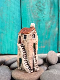 Miniature old house with 5 doors OOAK ceramic by theCherryHeart