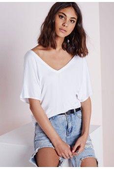 V Neck T Shirt White