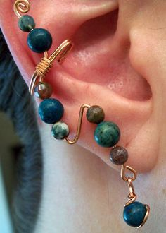 Copper and Turquoise Ear Cuff by You've Got Maille