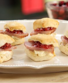 Warm, fluffy buttermilk biscuits topped with sweet jam and savory ham. Prepare these easy crowd-pleasers for your next gathering.