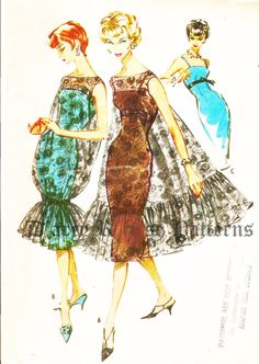 McCall's 4657 Vintage 1950s Sheath Evening by DRCRosePatterns