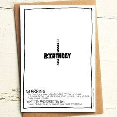 Birthday Film Poster Card - Brutally Honest Cards | Passive Aggressive | The Truth | You are Old | Has been | by iamstevestewart on Etsy