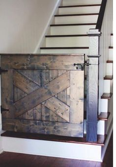 I love this barn inspired gate. Great keep dogs or kids from going up stairs.