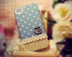 WANT  Linen iPhone 4 case, iPhone 4s case, iPhone case, case for iPhone 4 - Anchor on blue polka. $26.99, via Etsy.
