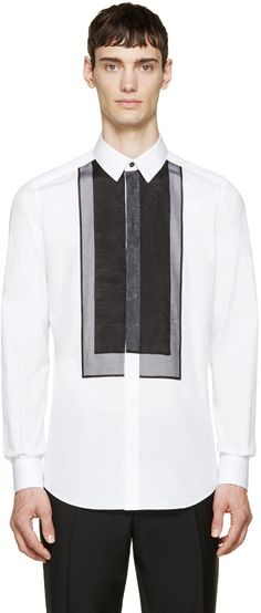 Dolce & Gabbana White Organza Panel Gold Fit Shirt