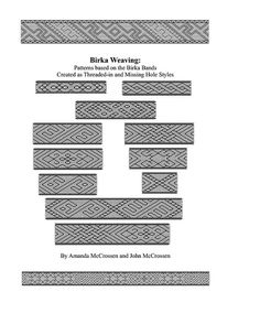 PDF pattern book based on the Birka Bands. Contains patterns for 8 band designs, and 6 segments patterns that can be combined with each other to