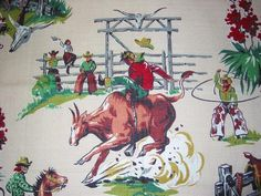Vintage Cowboy Barkcloth
