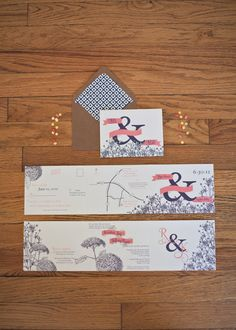 Vintage Ampersand and Hydrangea Wedding Invitation- Tri-fold