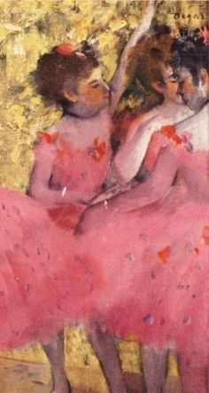 """[Detail] """"The Pink Dancers: Before the Ballet,"""" 1884 -- by Edgar Degas (French, 1834–1917)"""