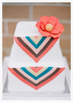 chevron and flower decorated cake