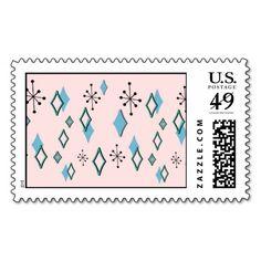 RETRO DIAMONDS in Pink and Aqua Postage Stamp