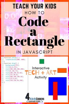 Teach your kids to code a rectangle in JavaScript with this hands-on, interactive coding activity! Kids Learning Activities, Hands On Activities, Teaching Kids, Steam Activities, Basic Coding, Homeschooling, Homeschool Math, How To Make Drawing, Coding For Kids