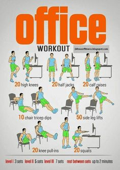 10 Office Exercises And Tips For Workout At Work - Desk Workout, Workout At Work, Workout Tips, Chair Exercises, Work Exercises, Fitness Exercises, Office Exercise, Office Workouts, Fitness Herausforderungen
