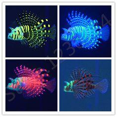 Silica color luminous Lionfish,Aquarium Landscaping decoration,Artificial Ornament Fish Tank Decoration,4 colors free shipping