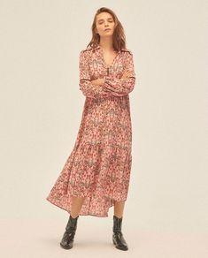 Vestido de mujer Amichi estampado con cuello pico | Vestidos