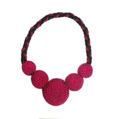 Hot Pink and Black Statement Necklace, Fuchsia Bib Necklace, Bold Color Jewelry, Circle Necklace, Fabric Art Jewelry, 80's 90's Fashion by FabricTwist on Etsy