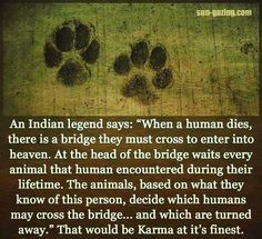 """An Indian legend says, 'When a human dies, there is a bridge . . . """