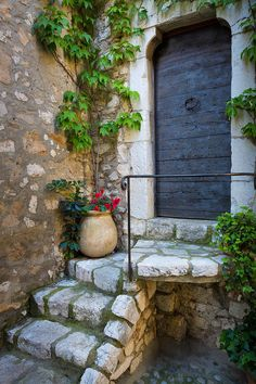 Stairs and door in Saint Paul de Vence in France