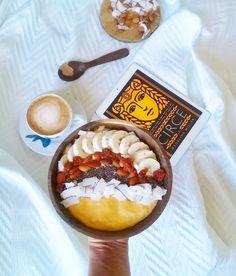Mango Bowl coconut almonds Chia seeds banana cappucino circe  bed time