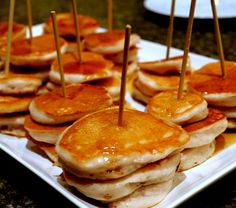 Fluffy Silver Dollar Sized Pancakes on skewers, drenched in maple syrup. They are the perfect party starter. Make up your batter the previous day and keep it refrigerated until party time. You can pre-make the pancakes an hour before guests arrive and keep them warm in a 200 degree oven