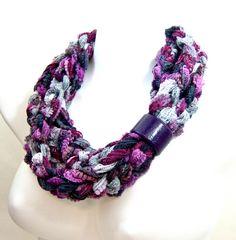 Amethyst Violet Purple Crochet Chain Scarf - Extra Long Loop Scarf - Purple Circle Scarf - Jewel Tones Infinity Scarf - Layered Scarf
