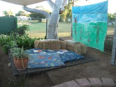 let the children play: Simple Play Space Transformations A bale of Hay Preschool Rooms, Classroom Activities, Classroom Ideas, Preschool Classroom, Outdoor Learning Spaces, Play Spaces, Outdoor Spaces, Communication Friendly Spaces, Outside Activities