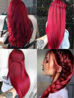 Pink-Red with Yellow Highlights - 20 Cool Styles with Bright Red Hair Color (Updated for - The Trending Hairstyle Bright Red Hair, Red Hair Color, Cool Hair Color, Hair Colors, Red Colour, Elumen Hair Color, Dyed Red Hair, Ombre Hair, Trendy Hairstyles