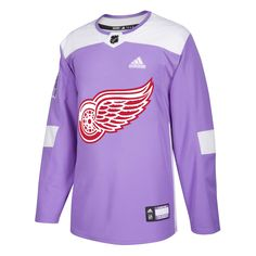sale retailer 79e2e 428a3 Hockey Fights Cancer Detroit Red Wings Purple 255J Adidas NHL Authentic Pro  Jersey