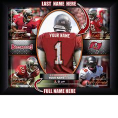 Tampa Bay Buccaneers NFL Football - Personalized Action Collage Print / Picture. Have you or someone you know ever dreamed about playing next to your favorite Tampa Bay Buccaneers players. You or someone you know can be right there in the locker room with Tampa Bay Buccaneers players! Optional framing with mat is available. Perfect for gifts, rec room, man cave, office, child's room, etc. ( www.oakhousesportsprints.com )