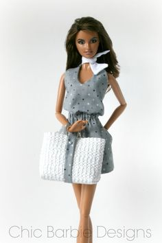 Sundress, beach bag and scarf for Barbie by Chic Barbie Designs