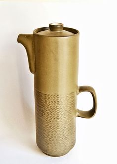The Amazing extra tall Denby Chevron Coffee Pot - designed by Gill Pemberton 196s=2