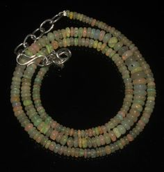 """36 Crts 1 Necklace 2 to 6 mm 17"""" Beads Natural Ethiopian Welo Fire Opal 59636"""