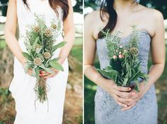 DIY herb wedding bouquets   Julice & Steve's picnic, natural DIY Maryland wedding at Woodlawn Manor   Images: An Endless Pursuit
