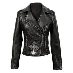 W.NRM32-S3 Brocade Leather Biker Jacket w/ Cross from New Rock