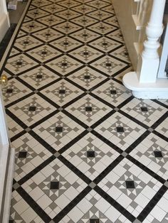 Victorian floor tiles and contemporary geometric ceramic tiles. Specialists in the design and supply of mosaic tile schemes. Hallway Flooring, Tile Flooring, Floors, Rhombus Tile, Geometric Tiles, Porch Entrance, Door Entry, Victorian Hallway, Victorian Tiles
